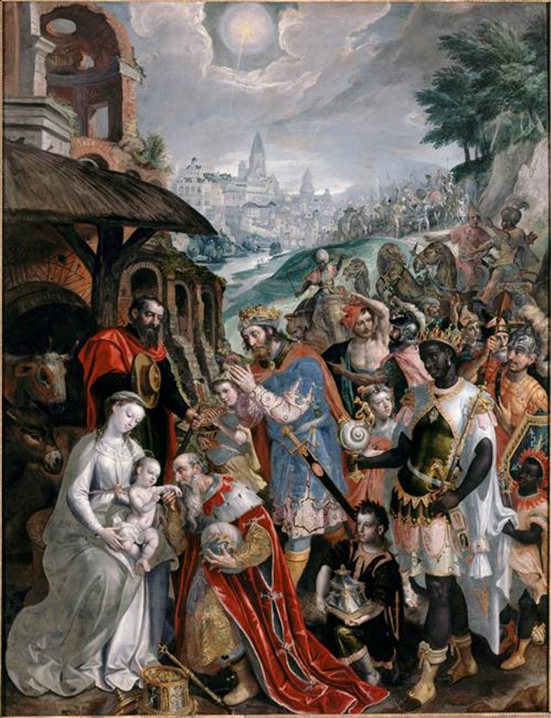 Adoration des mages. Martin de Vos. 1569 pour ND de la chaussée. Musèe des bx arts.Vlls